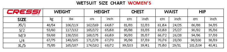 Cressi Ladies Size Chart