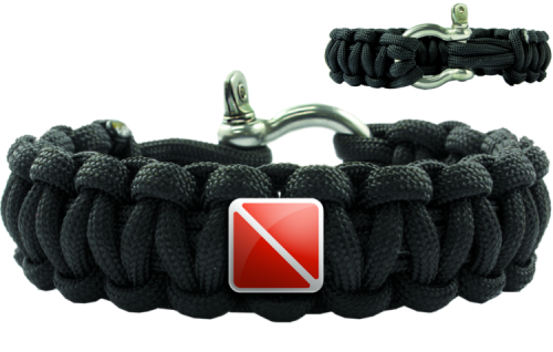 Paracord Dive Flag Black Shackle