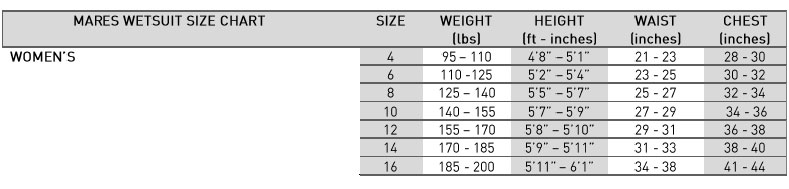 Mares Women's Size Chart