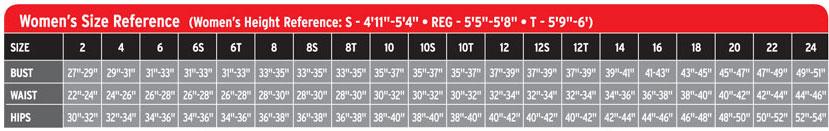 Neosport Women's Size Chart