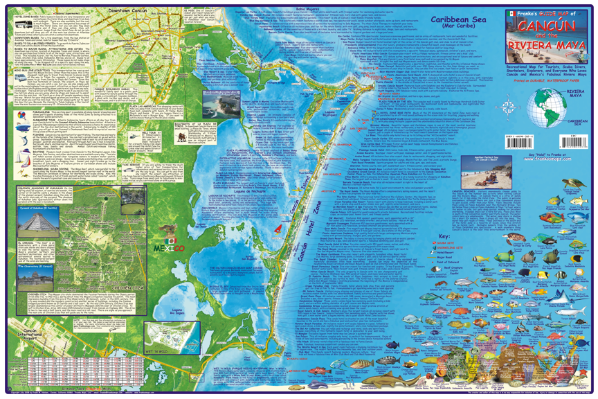 map of cancun and mayan riviera Franko Maps Cancun Riviera Maya Adventure Guide map of cancun and mayan riviera