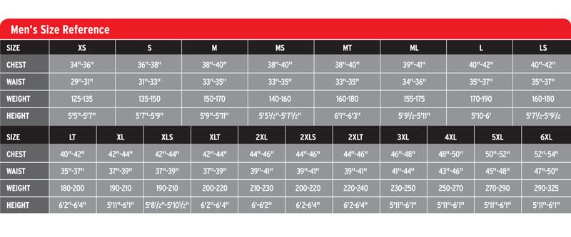 Neosport Men's Size Chart