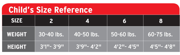 Henderson Child's Size Chart