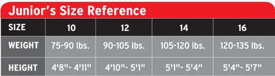 Hendertson Junior Size Chart