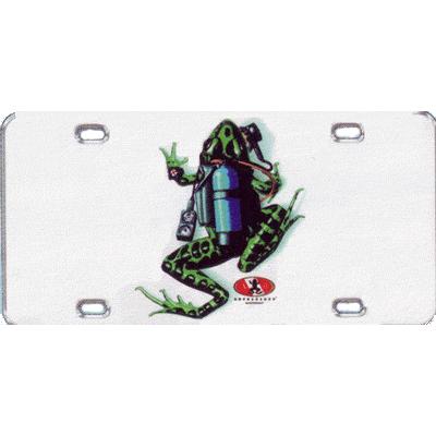 Metal License Plate Scuba Frog