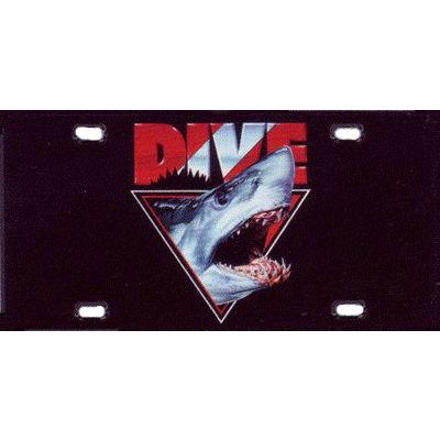 Metal License Plate Dive Shark