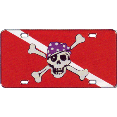 Metal License Plate SD Pirate Dive Flag