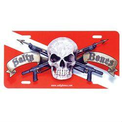 Metal License Plate Skull Dive Flag