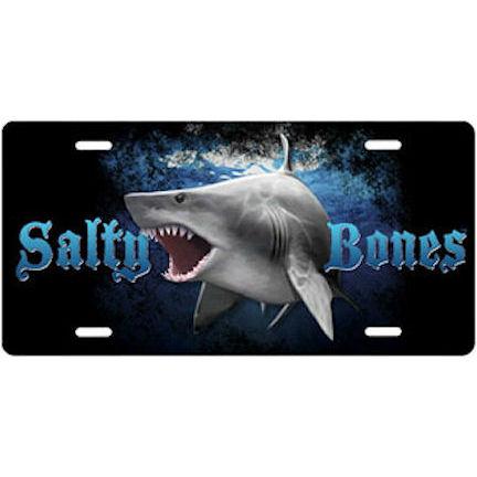 Metal License Plate Salty Bones Shark