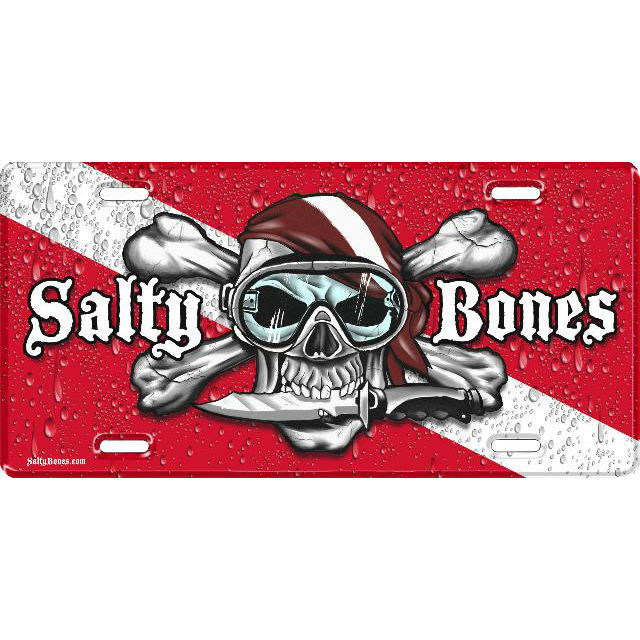 Metal License Plate Salty Bones Skull