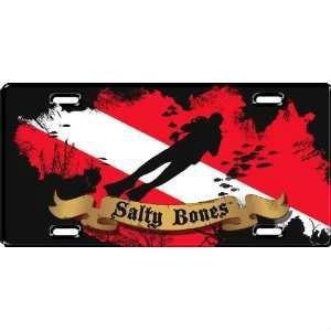 Metal License Plate Salty Bones Diver