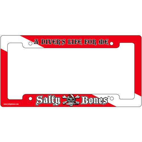 Metal License Plate Frame Salty Bones Divers Life