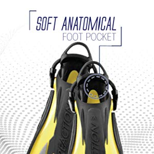made in Italy Cressi Scuba Diving Fins Reactive Open Heel with Bungee Strap Reaction EBS