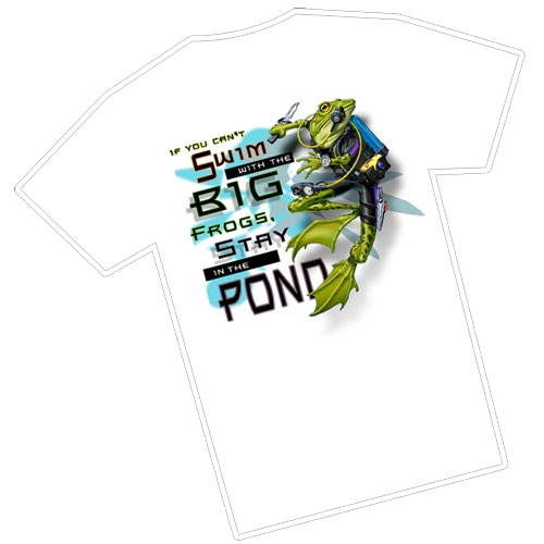 Amphibious Outfitters Big Frog T Shirt White Large