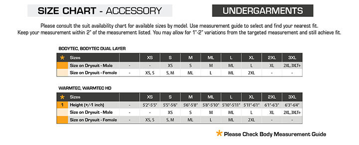 Waterproof Warmtec Size Chart