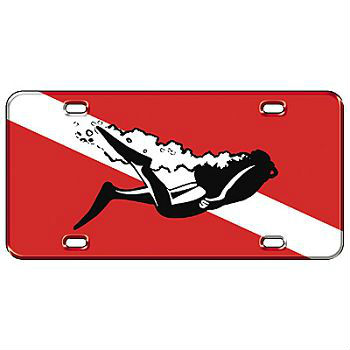 Plastic License Plate Black Scuba Diver on Flag