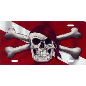 Metal License Plate Dive Flag Skull Bandana