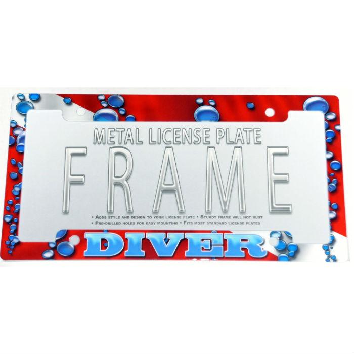 Metal License Plate Frame Dive Flag Bubbles
